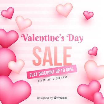 Realistic valentine's day sale background
