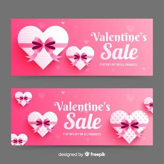 Реалистичные баннеры продажи ко дню святого валентина
