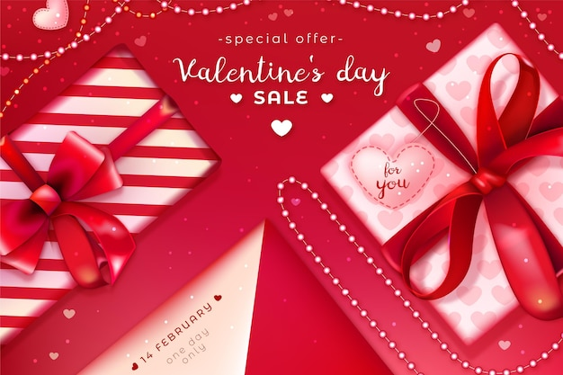 Realistic valentine's day sales background