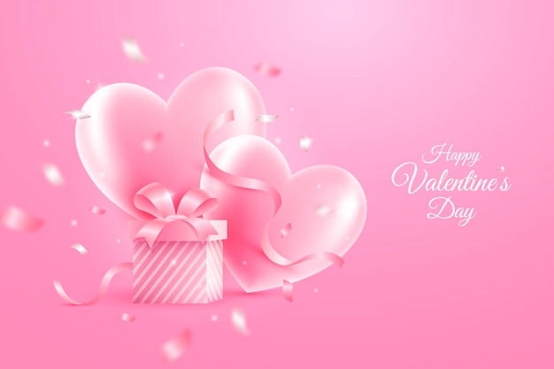 Realistic valentine's day wallpaper with hearts