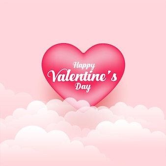 Realistic valentines day 3d heart and clouds
