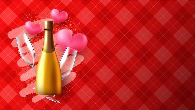 Realistic valentines day background or banner