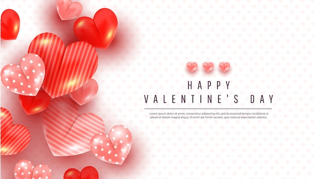 Realistic valentines day background with soft pink and red 3d heart decor on a white