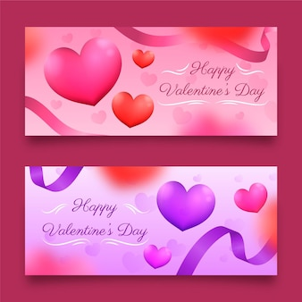 Realistic valentines day banners template