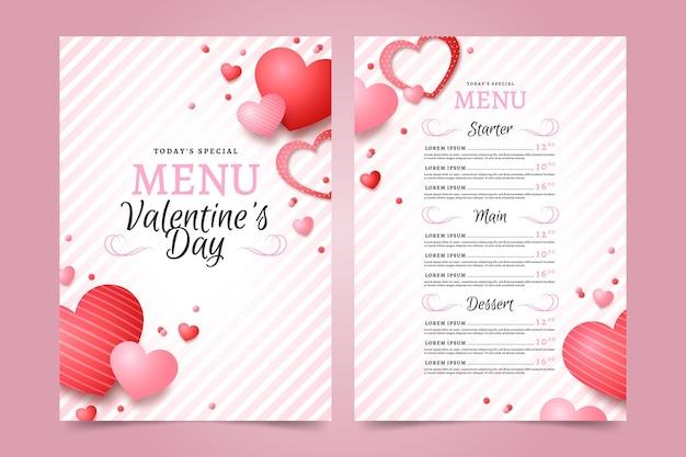 Modello di menu realistico di san valentino