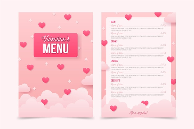 Realistic valentines day menu template