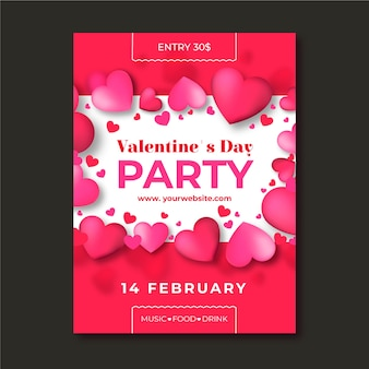 Realistic valentines day party poster template