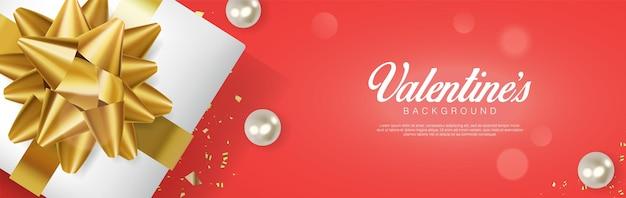 Реалистичный день святого валентина. романтическая подарочная коробка и жемчуг. flatlay