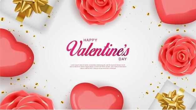 Реалистичный день святого валентина. романтические красные сердечки и конфетти. flatlay