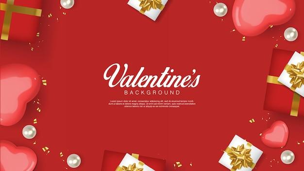 Реалистичный день святого валентина. романтические красные сердечки, подарочная коробка и конфетти. flatlay