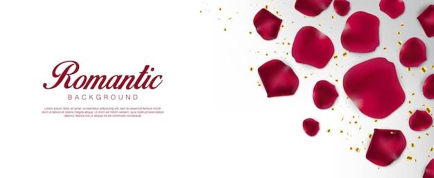Реалистичный день святого валентина. романтические красные лепестки и конфетти. flatlay