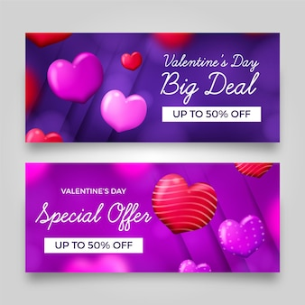 Realistic valentines day sale banners template