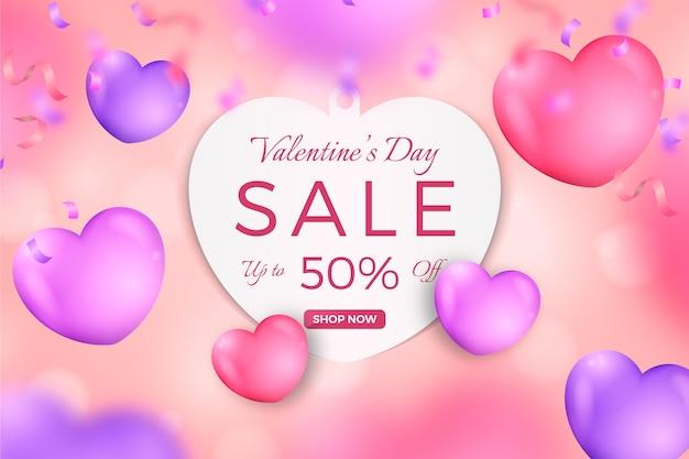 Реалистичная распродажа ко дню святого валентина