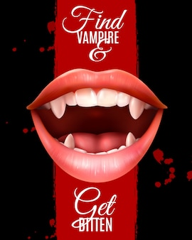 Realistic vampire mouth poster