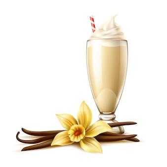Realistic vanilla banana milkshake cocktail with cream and straw