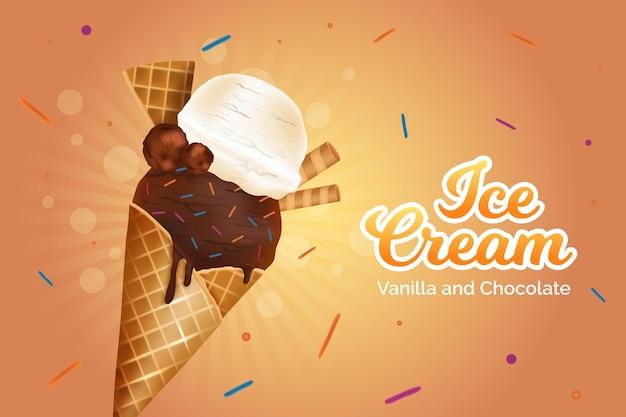 Annuncio realistico di gelato alla vaniglia e al cioccolato Vettore gratuito