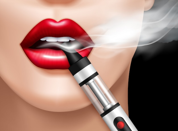 Realistic vaping illustration Free Vector