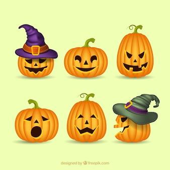 Realistic variety of halloween pumpkins