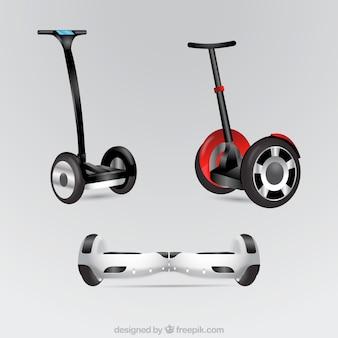 Реалистичное разнообразие городских скутеров Бесплатные векторы