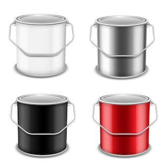 Realistic vector 3d mockup   paint can  set. realistic template for advertising paintwork products.