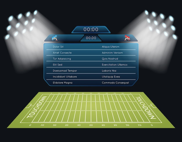 Realistic vector american football field with scoreboard. touchdown, rugby sport, game and stadium, championship competition