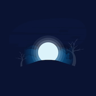 Realistic vector background with full moon