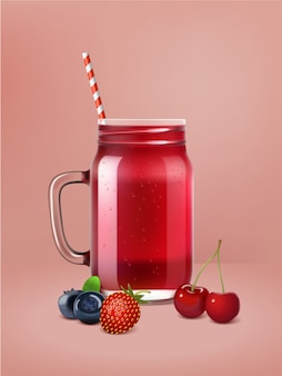 Realistic vector berry smoothie poster.