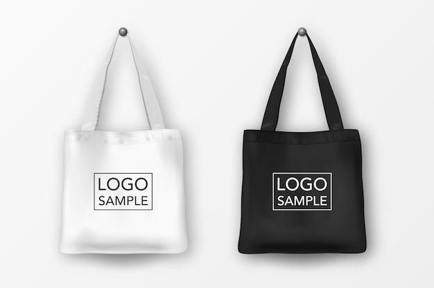 Реалистичные вектор черный и белый пустой текстильный мешок значок набор. крупный план, изолированные на белом фоне. шаблоны дизайна для брендинга, макета. eps10 иллюстрации.