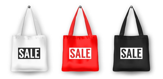 Realistic vector black white and red blank textile shopping tote bag  set with word sale closeup