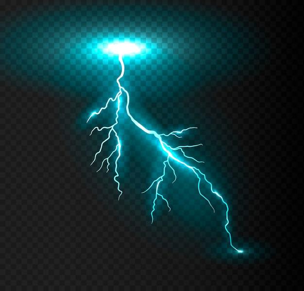 Realistic vector blue lightning.