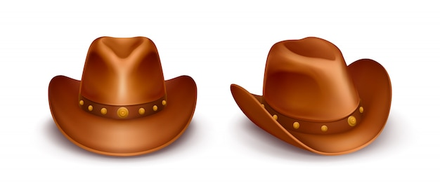 Realistic vector brown leather cowboy hats