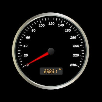 Realistic vector car speedometer interface.