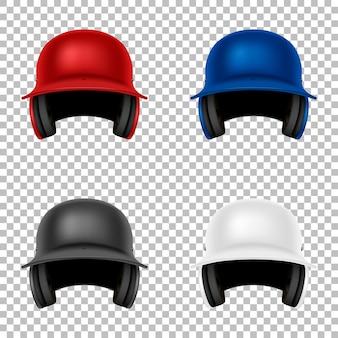 Набор реалистичных векторных классический бейсбольный шлем. изолированный. шаблон дизайна спереди. eps10 иллюстрации.