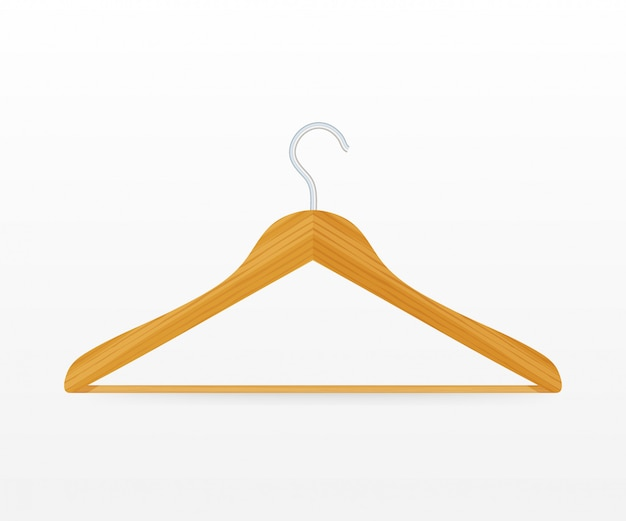 Realistic vector clothes coat wooden hanger close up isolated on white