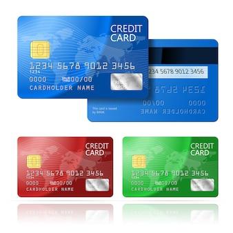 Carta di credito realistica di vettore due lati, blu, verde, rosso