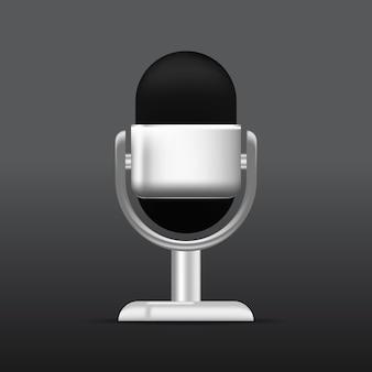 마이크 팟캐스트 마이크 디자인의 현실적인 벡터 디자인