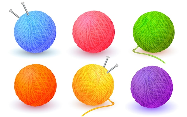 Realistic vector detailed balls of yarn threads bundles of wool for knitting skeins of wool