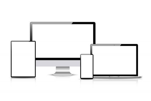 현실적인 벡터. 장치 세트 : 모니터 노트북, 태블릿 및 전화 템플릿