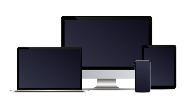現実的なベクトルデバイスセットモニターラップトップタブレットと電話テンプレート