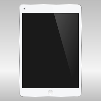 Realistic vector digital soft white tablet mock up with white blank screen