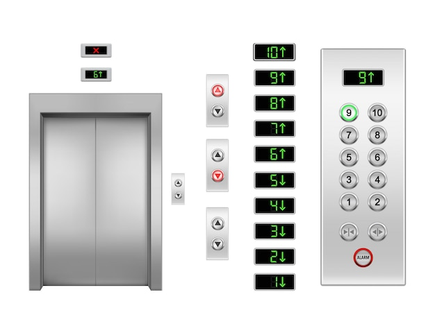현실적인 벡터 엘리베이터 문 및 버튼 위아래 화살표