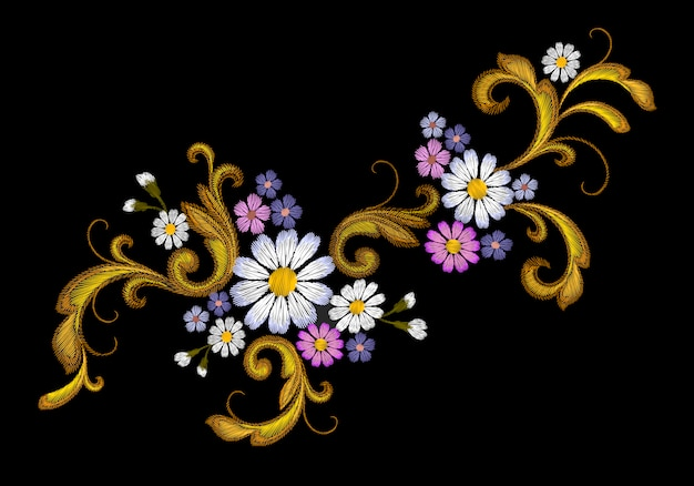 Realistic vector embroidery fashion patch  flower daisy golden leaves