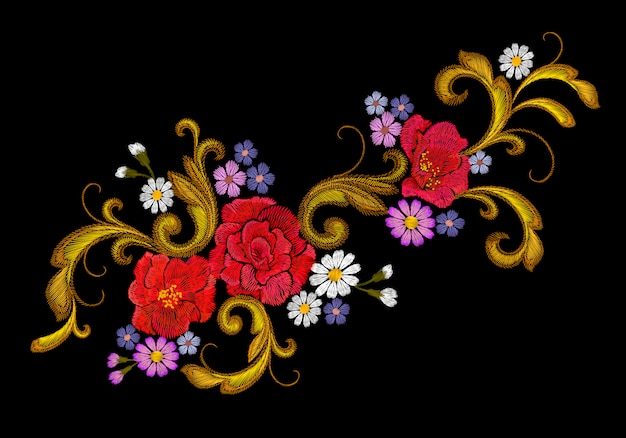 Realistic vector embroidery fashion patch  flower rose daisy