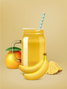 Realistic vector fruit smoothie poster.