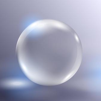 リアルなベクトルガラス球グレア付きの透明な光沢のある3dボールハイライト付きの美しい地球儀