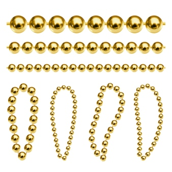 Realistic vector gold chains luxury golden beads for keychain necklace or bracelet