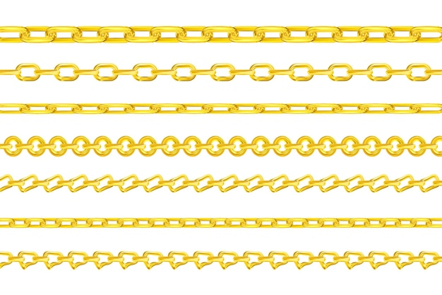 現実的なベクトルゴールドチェーンネックレスやブレスレットのさまざまな形の豪華なゴールデンリンク