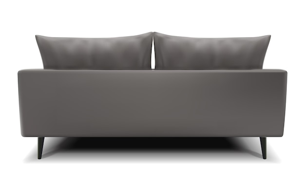 Realistic vector gray sofa from the back view on white