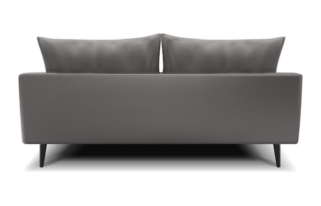 Реалистичный вектор серый диван вид сзади на белом