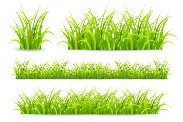 現実的なベクトル緑の草の境界線は、ポスターハーブ要素のための草や茂みの夏の芝生の房を設定します